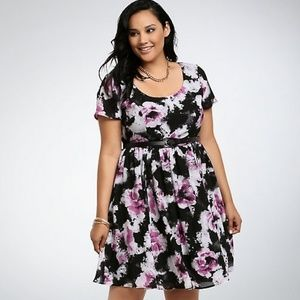 Torrid Watercolor Print Skater Dress